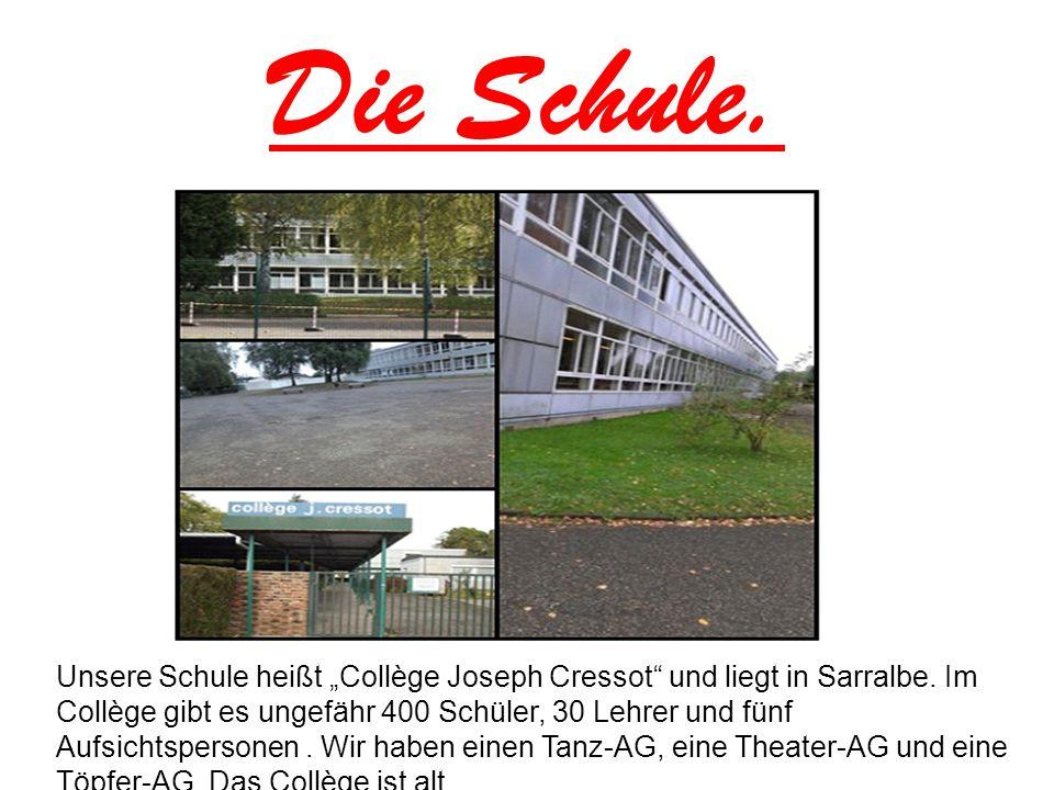 """Die Schule. Unsere Schule heißt """"Collège Joseph Cressot"""" und liegt in Sarralbe. Im Collège gibt es ungefähr 400 Schüler, 30 Lehrer und fünf Aufsichtsp"""
