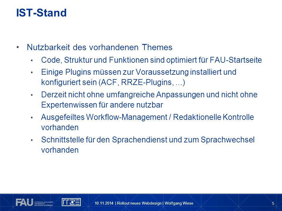 5 Nutzbarkeit des vorhandenen Themes Code, Struktur und Funktionen sind optimiert für FAU-Startseite Einige Plugins müssen zur Voraussetzung installie