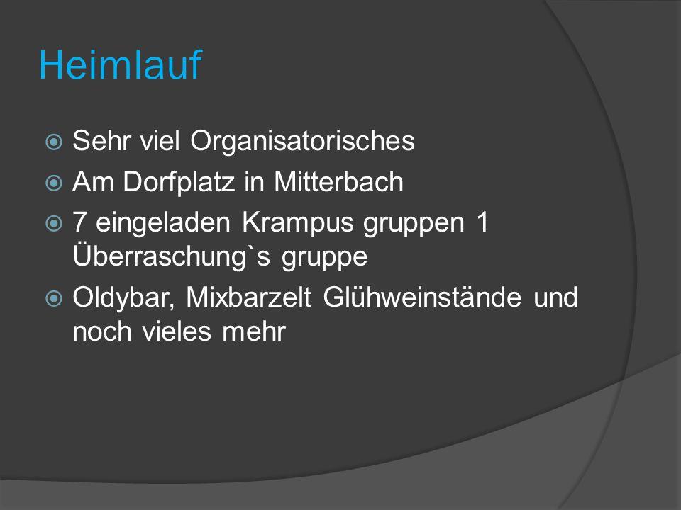 Heimlauf  Sehr viel Organisatorisches  Am Dorfplatz in Mitterbach  7 eingeladen Krampus gruppen 1 Überraschung`s gruppe  Oldybar, Mixbarzelt Glühweinstände und noch vieles mehr
