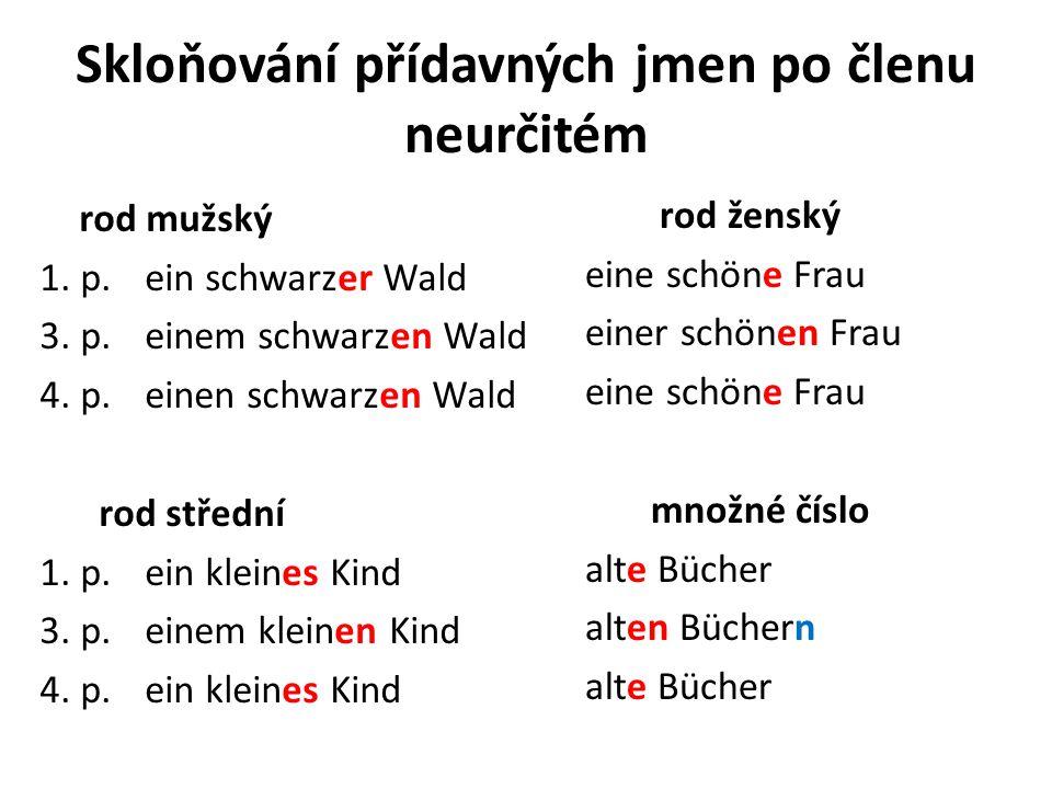 Skloňování přídavných jmen po členu neurčitém rod mužský 1. p.ein schwarzer Wald 3. p.einem schwarzen Wald 4. p.einen schwarzen Wald rod střední 1. p.