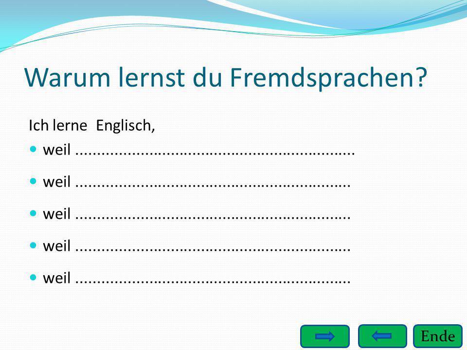 Ende Warum lernst du Fremdsprachen? Ich lerne Englisch, weil................................................................. weil....................