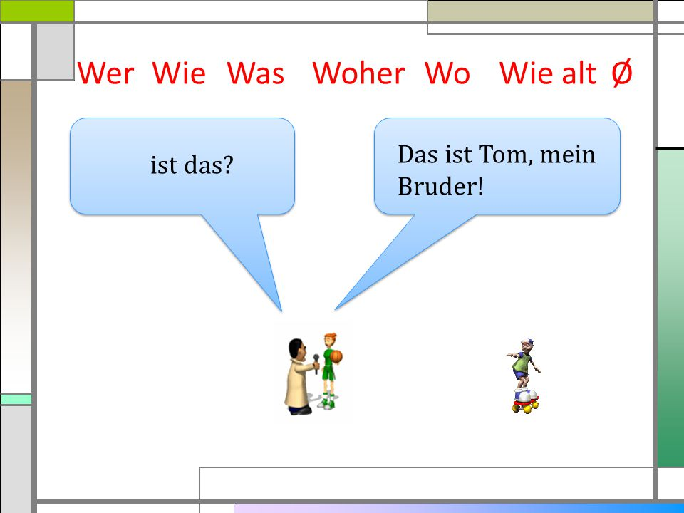 WerWieWasWoherWie altØ Das ist Tom, mein Bruder! ist das? Wo