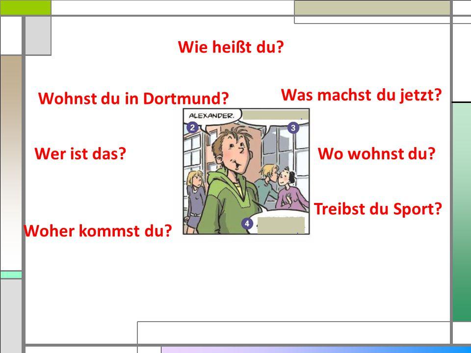 Wie heißt du? Was machst du jetzt? Wo wohnst du? Treibst du Sport? Woher kommst du? Wer ist das? Wohnst du in Dortmund?