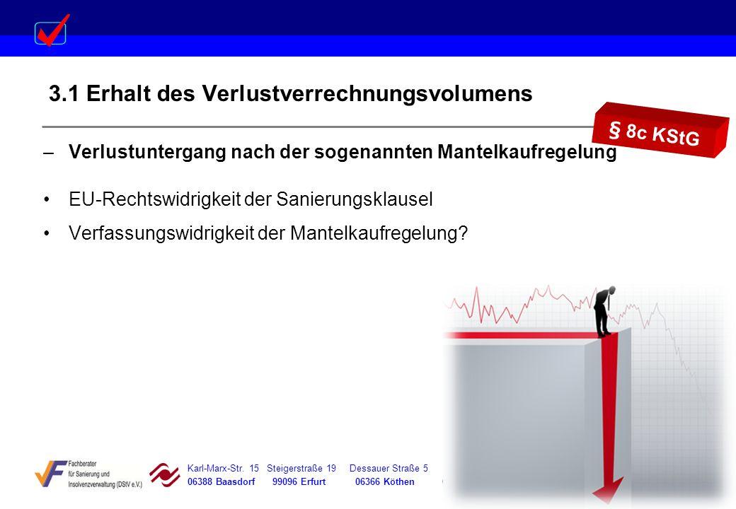 Karl-Marx-Str. 15 Steigerstraße 19 Dessauer Straße 5 Rosenstraße 12 06388 Baasdorf 99096 Erfurt 06366 Köthen 64839 Münster 3.1 Erhalt des Verlustverre