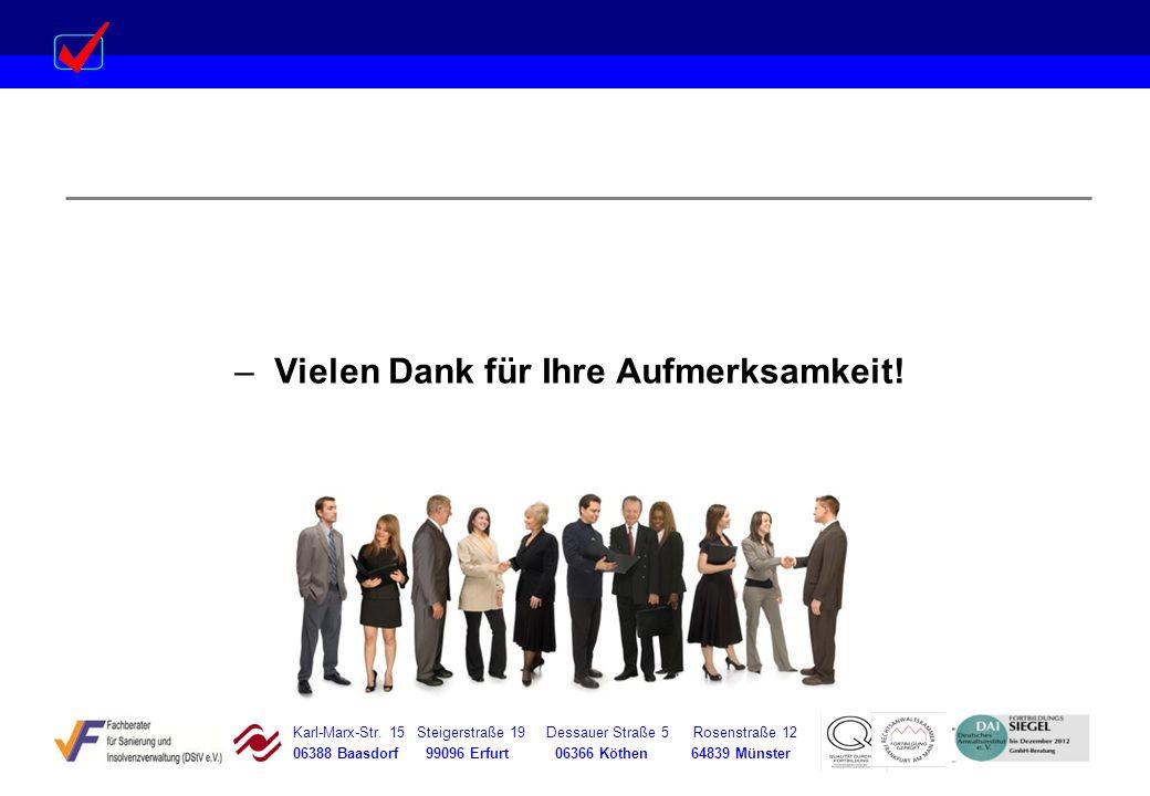 Karl-Marx-Str. 15 Steigerstraße 19 Dessauer Straße 5 Rosenstraße 12 06388 Baasdorf 99096 Erfurt 06366 Köthen 64839 Münster –Vielen Dank für Ihre Aufme