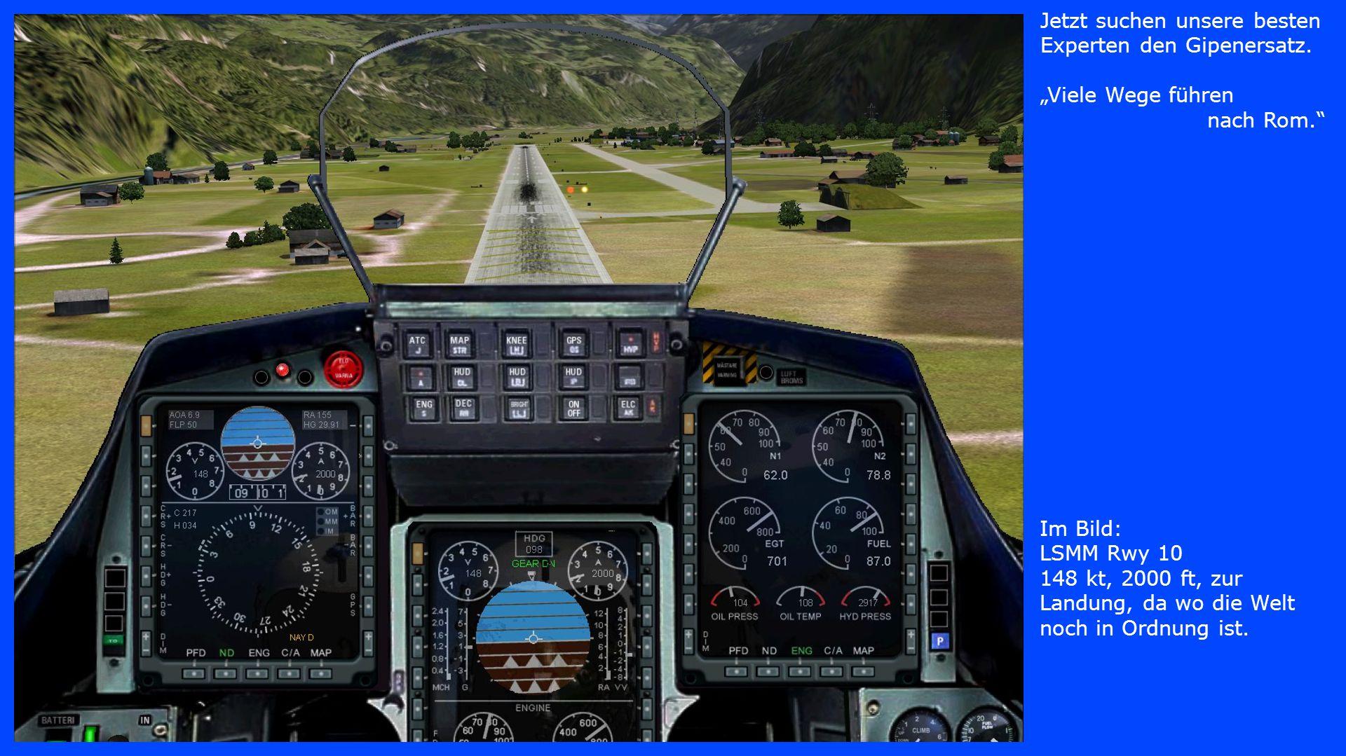 """Im Bild: LSMM Rwy 10 148 kt, 2000 ft, zur Landung, da wo die Welt noch in Ordnung ist. Jetzt suchen unsere besten Experten den Gipenersatz. """"Viele Weg"""