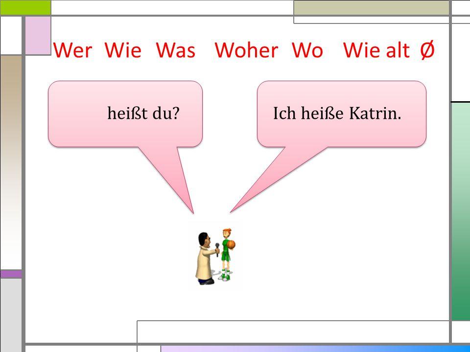 WerWieWasWoherWie altØ Ich heiße Katrin. heißt du? Wo