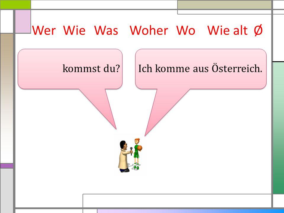 WerWieWasWoherWie altØ Ich komme aus Österreich. kommst du? Wo