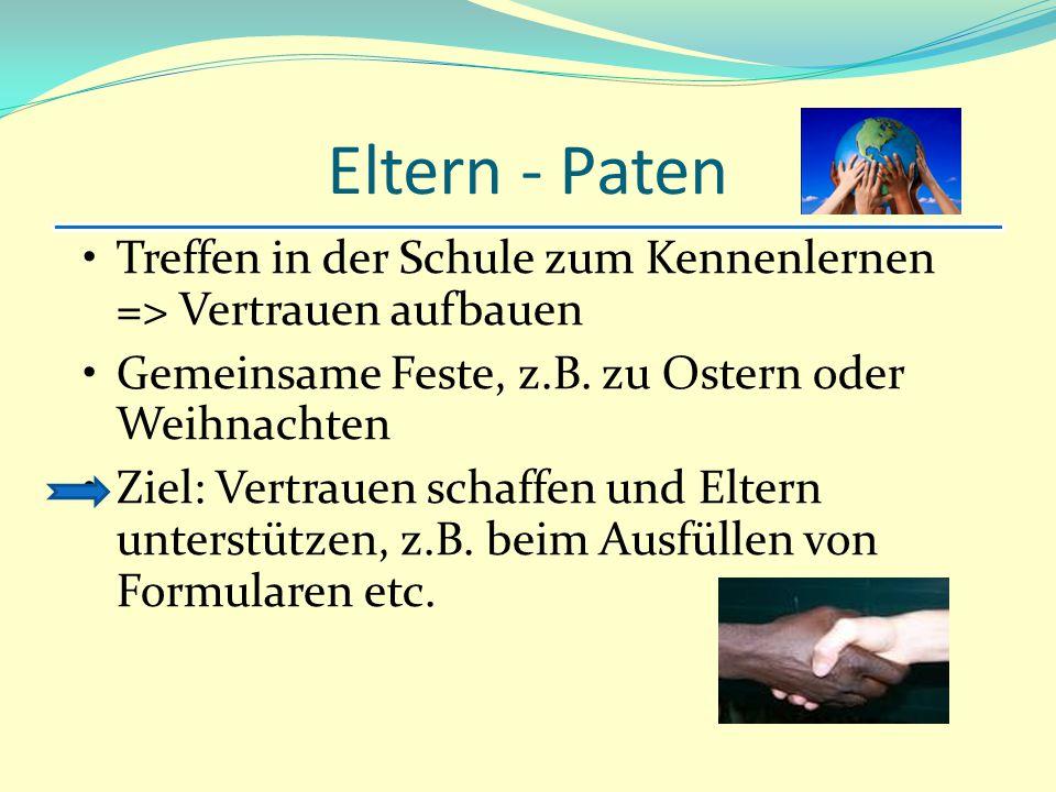 Eltern - Paten Treffen in der Schule zum Kennenlernen => Vertrauen aufbauen Gemeinsame Feste, z.B. zu Ostern oder Weihnachten Ziel: Vertrauen schaffen