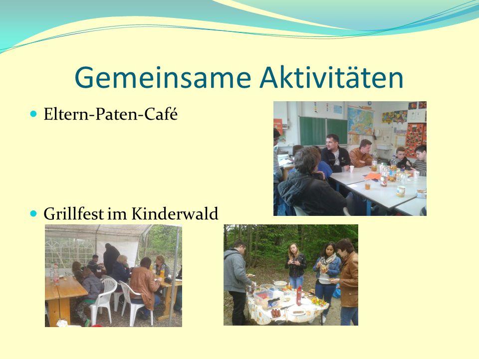Gemeinsame Aktivitäten Eltern-Paten-Café Grillfest im Kinderwald