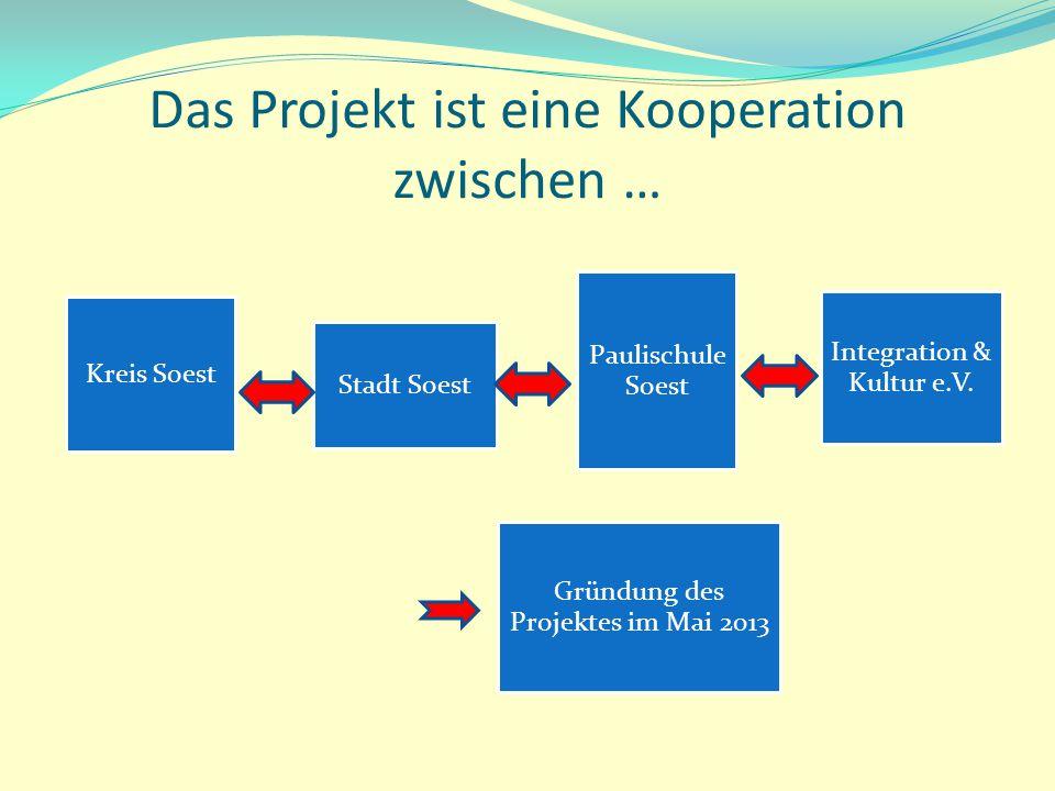 Das Projekt ist eine Kooperation zwischen … Kreis Soest Stadt Soest Integration & Kultur e.V. Paulischule Soest Gründung des Projektes im Mai 2013