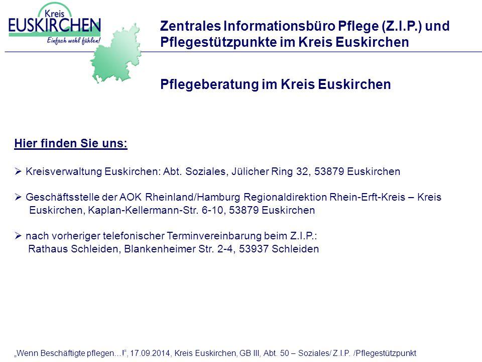 """""""Wenn Beschäftigte pflegen…! , 17.09.2014, Kreis Euskirchen, GB III, Abt."""