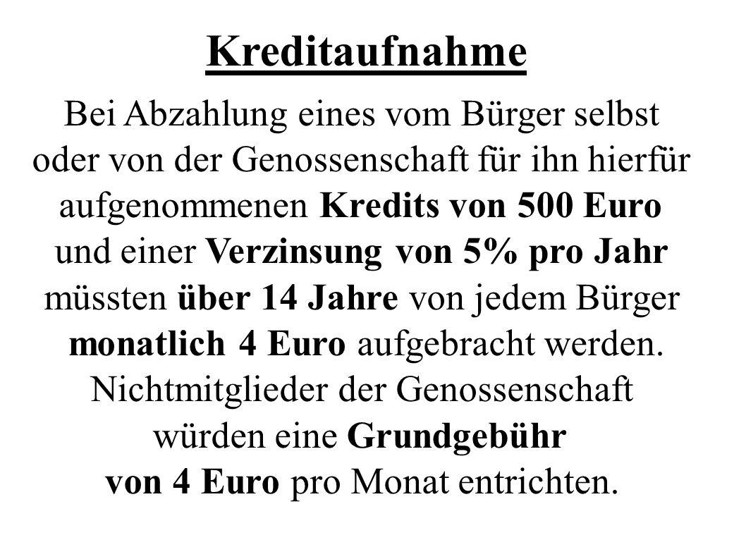 Kreditaufnahme Bei Abzahlung eines vom Bürger selbst oder von der Genossenschaft für ihn hierfür aufgenommenen Kredits von 500 Euro und einer Verzinsu
