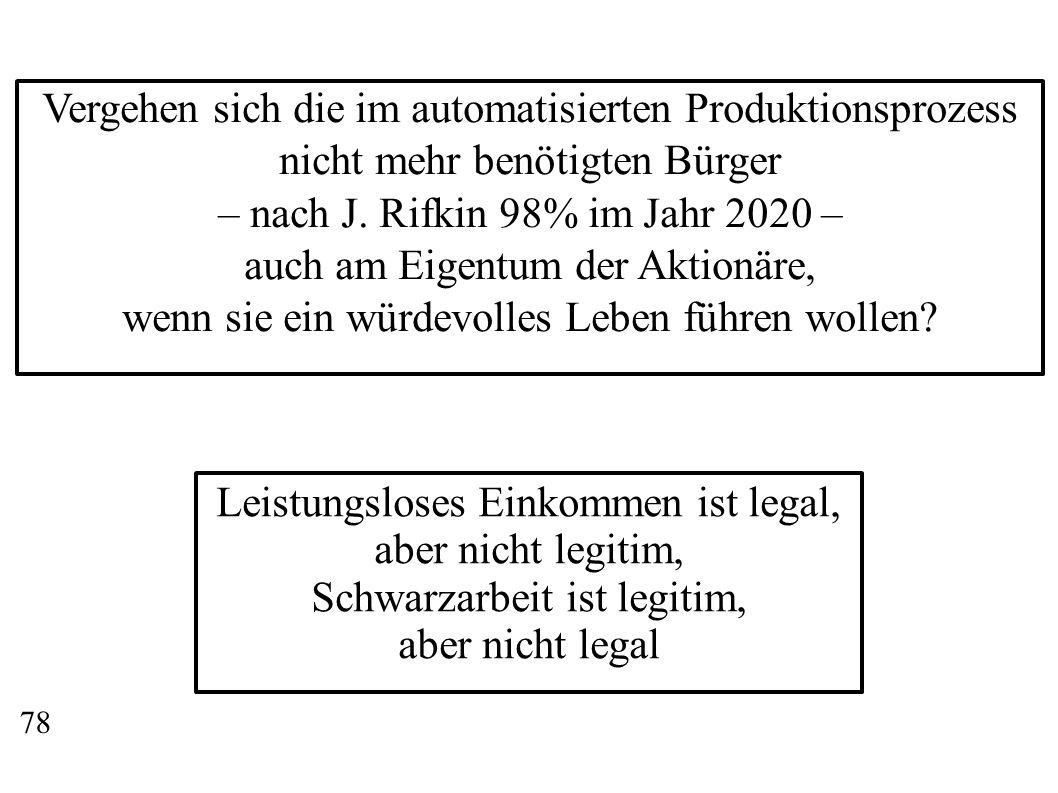 Vergehen sich die im automatisierten Produktionsprozess nicht mehr benötigten Bürger – nach J. Rifkin 98% im Jahr 2020 – auch am Eigentum der Aktionär