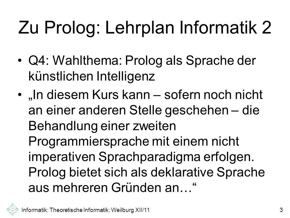 Materialien zu Prolog Auf dem Bildungsserver (http://dms.bildung.hessen.de/), genauer:http://dms.bildung.hessen.de/ http://lakk.bildung.hessen.de/netzwerk/fae cher/informatik/prolog.htmlhttp://lakk.bildung.hessen.de/netzwerk/fae cher/informatik/prolog.html Buch 12 € Es gibt eine CD dazu Auszug: herzlichen Dank an den Autor G.