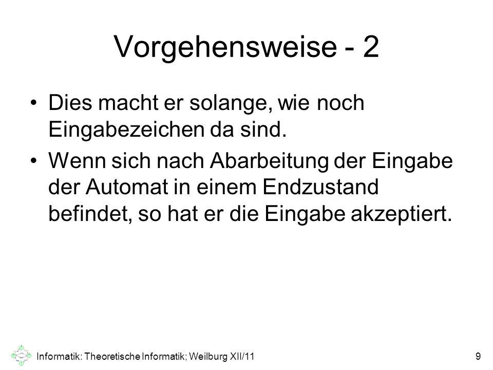 Informatik: Theoretische Informatik; Weilburg XII/1120 Vielen Dank für die Aufmerksamkeit!
