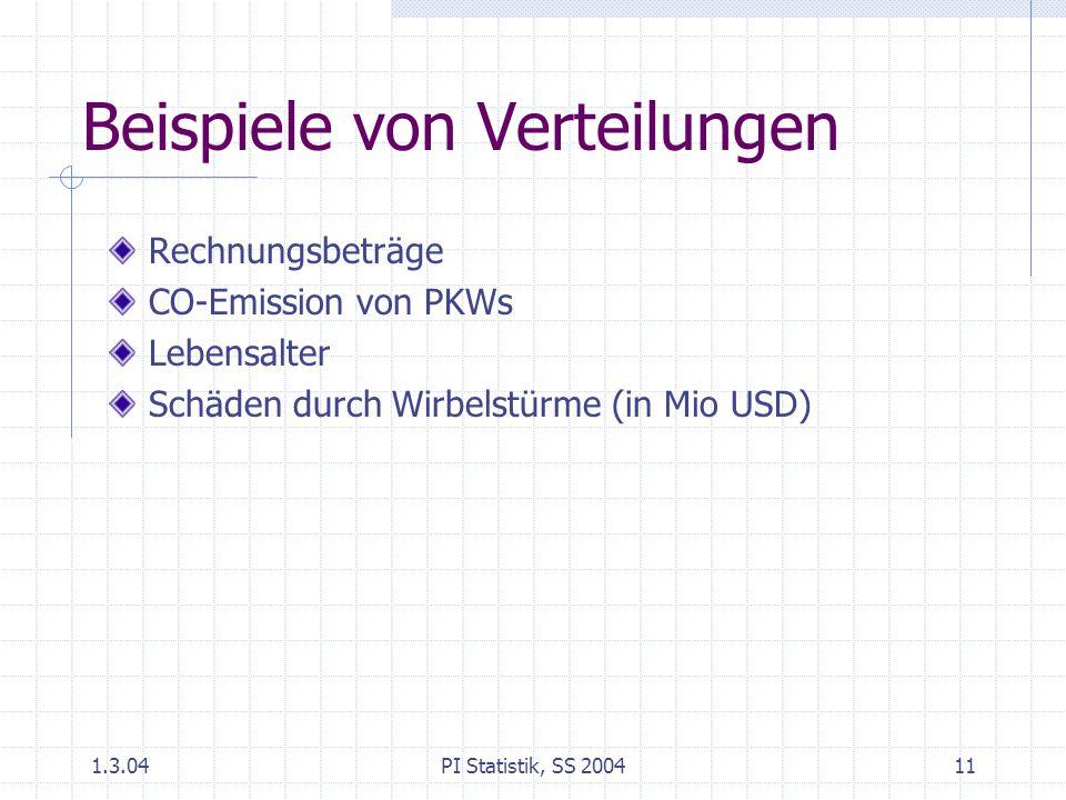 1.3.04PI Statistik, SS 200411 Beispiele von Verteilungen Rechnungsbeträge CO-Emission von PKWs Lebensalter Schäden durch Wirbelstürme (in Mio USD)