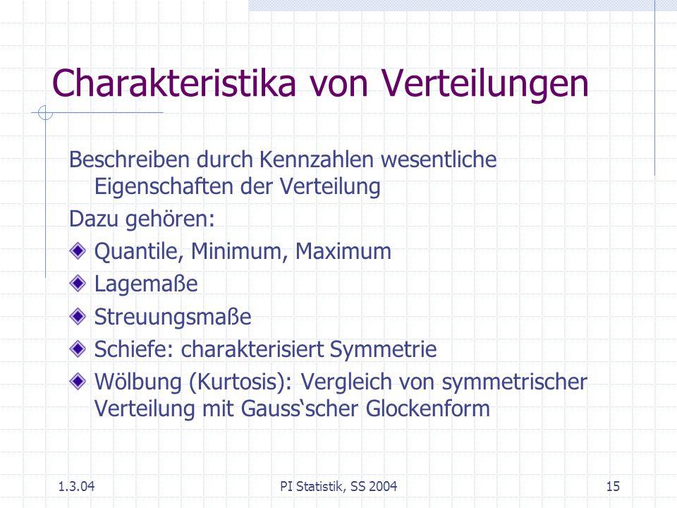 1.3.04PI Statistik, SS 200415 Charakteristika von Verteilungen Beschreiben durch Kennzahlen wesentliche Eigenschaften der Verteilung Dazu gehören: Quantile, Minimum, Maximum Lagemaße Streuungsmaße Schiefe: charakterisiert Symmetrie Wölbung (Kurtosis): Vergleich von symmetrischer Verteilung mit Gauss'scher Glockenform