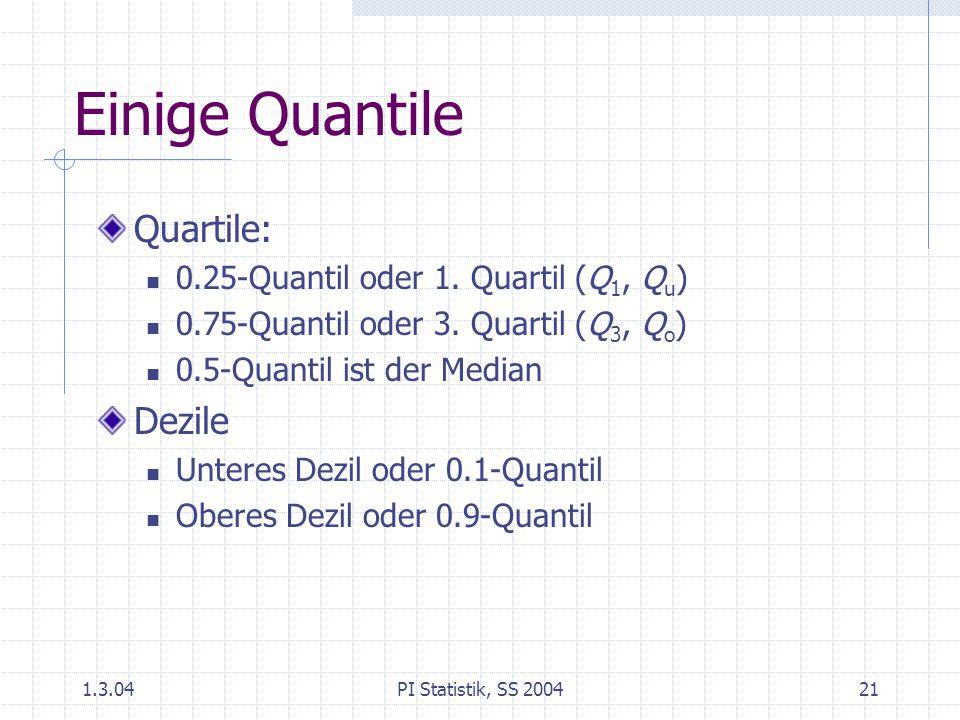 1.3.04PI Statistik, SS 200421 Einige Quantile Quartile: 0.25-Quantil oder 1. Quartil (Q 1, Q u ) 0.75-Quantil oder 3. Quartil (Q 3, Q o ) 0.5-Quantil
