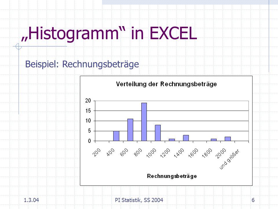 """1.3.04PI Statistik, SS 20046 """"Histogramm in EXCEL Beispiel: Rechnungsbeträge"""