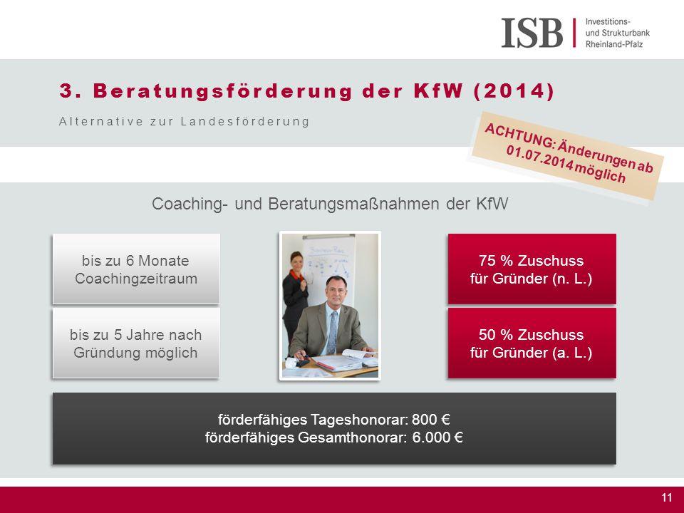 11 bis zu 6 Monate Coachingzeitraum bis zu 6 Monate Coachingzeitraum 75 % Zuschuss für Gründer (n. L.) 75 % Zuschuss für Gründer (n. L.) bis zu 5 Jahr