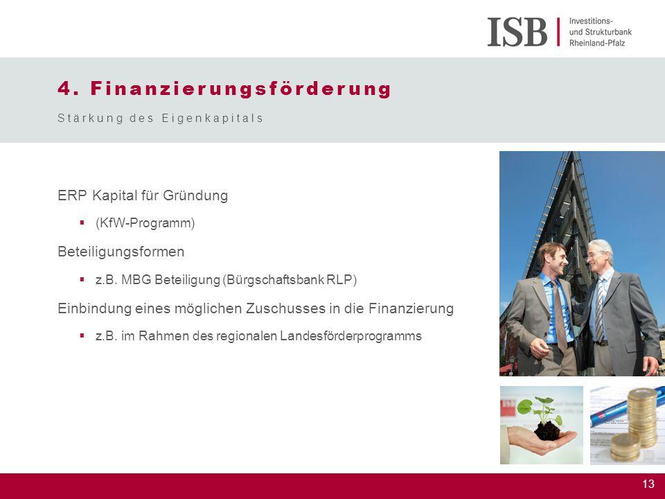 13 4. Finanzierungsförderung ERP Kapital für Gründung  (KfW-Programm) Beteiligungsformen  z.B. MBG Beteiligung (Bürgschaftsbank RLP) Einbindung eine