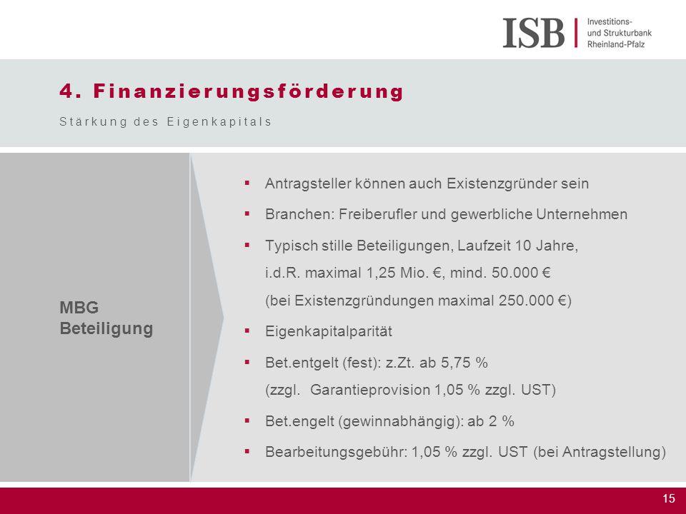 15 4. Finanzierungsförderung Stärkung des Eigenkapitals MBG Beteiligung  Antragsteller können auch Existenzgründer sein  Branchen: Freiberufler und