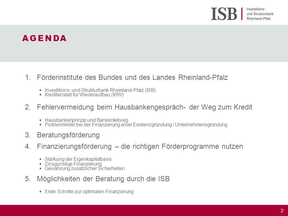 2 1.Förderinstitute des Bundes und des Landes Rheinland-Pfalz  Investitions- und Strukturbank Rheinland-Pfalz (ISB)  Kreditanstalt für Wiederaufbau