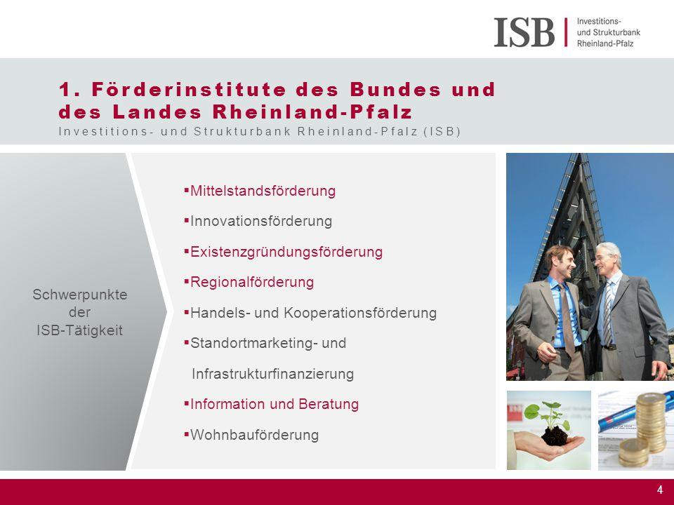4 1. Förderinstitute des Bundes und des Landes Rheinland-Pfalz Investitions- und Strukturbank Rheinland-Pfalz (ISB)  Mittelstandsförderung  Innovati