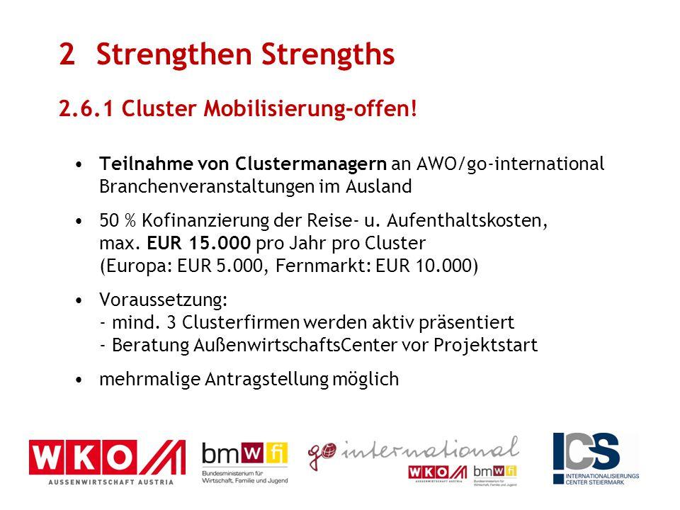 Teilnahme von Clustermanagern an AWO/go-international Branchenveranstaltungen im Ausland 50 % Kofinanzierung der Reise- u. Aufenthaltskosten, max. EUR