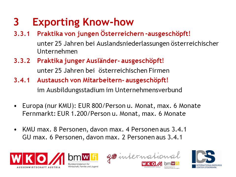 3.3.1 Praktika von jungen Österreichern –ausgeschöpft! unter 25 Jahren bei Auslandsniederlassungen österreichischer Unternehmen 3.3.2Praktika junger A