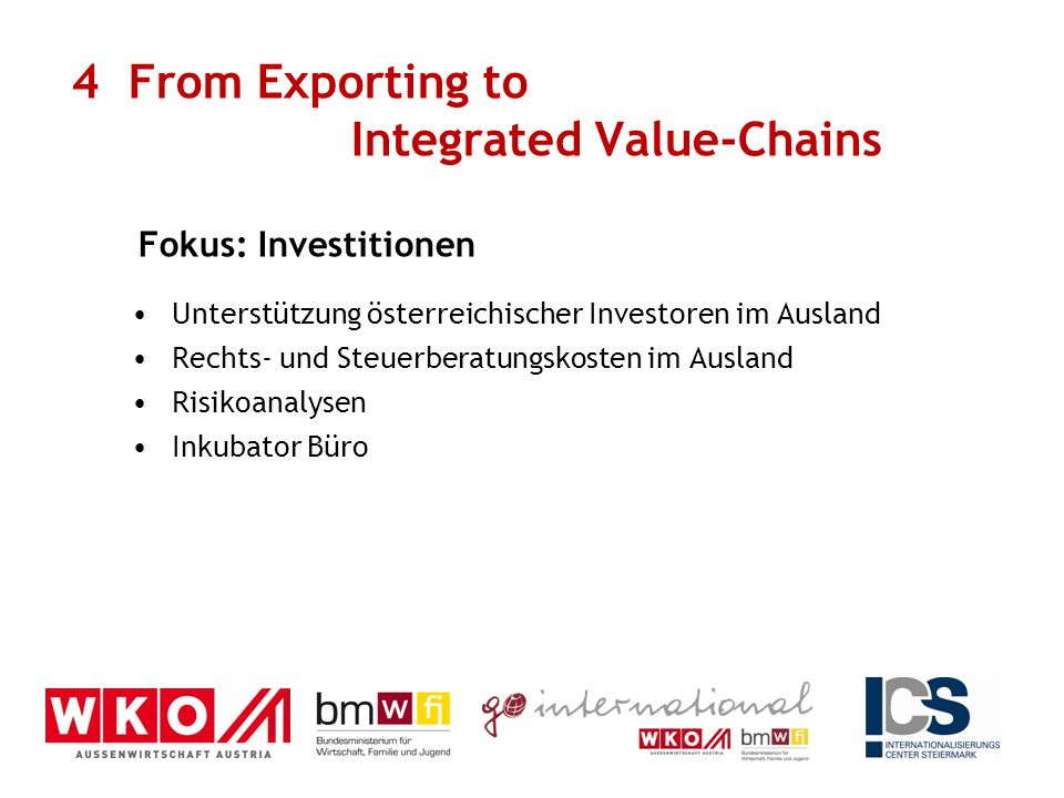 Unterstützung österreichischer Investoren im Ausland Rechts- und Steuerberatungskosten im Ausland Risikoanalysen Inkubator Büro 4 From Exporting to Integrated Value-Chains Fokus: Investitionen