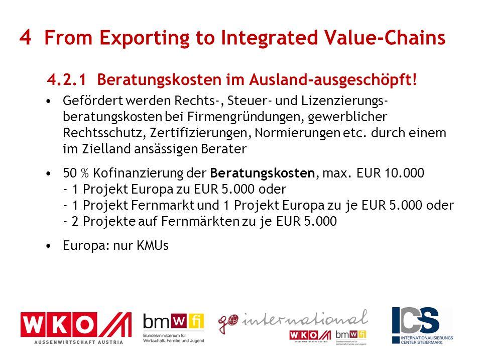 4.2.1 Beratungskosten im Ausland-ausgeschöpft! Gefördert werden Rechts-, Steuer- und Lizenzierungs- beratungskosten bei Firmengründungen, gewerblicher