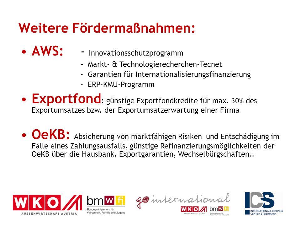 Weitere Fördermaßnahmen: AWS: - Innovationsschutzprogramm - Markt- & Technologierecherchen-Tecnet - Garantien für Internationalisierungsfinanzierung -