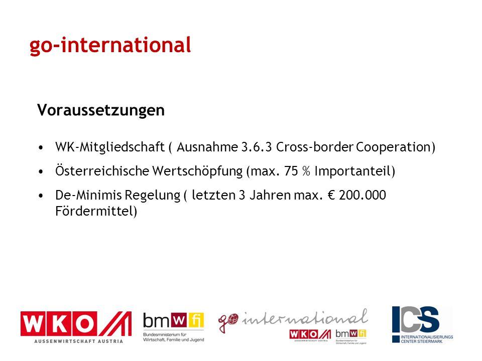 Voraussetzungen WK-Mitgliedschaft ( Ausnahme 3.6.3 Cross-border Cooperation) Österreichische Wertschöpfung (max. 75 % Importanteil) De-Minimis Regelun