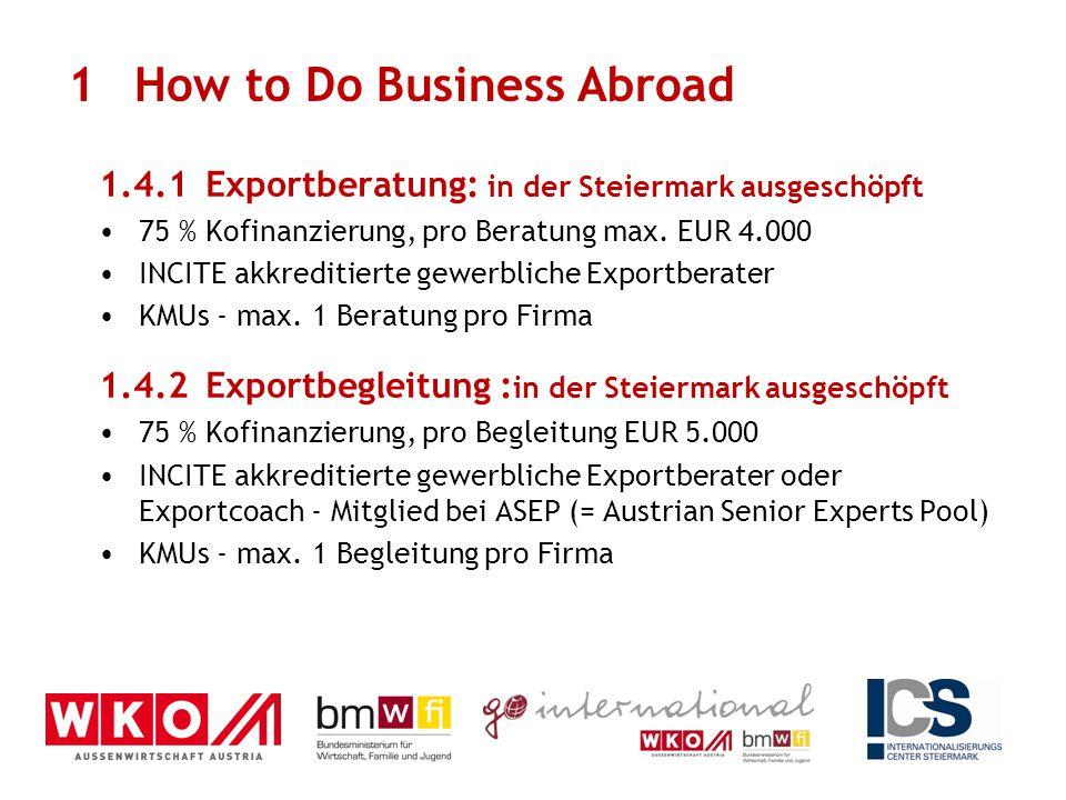 1.4.1Exportberatung: in der Steiermark ausgeschöpft 75 % Kofinanzierung, pro Beratung max. EUR 4.000 INCITE akkreditierte gewerbliche Exportberater KM