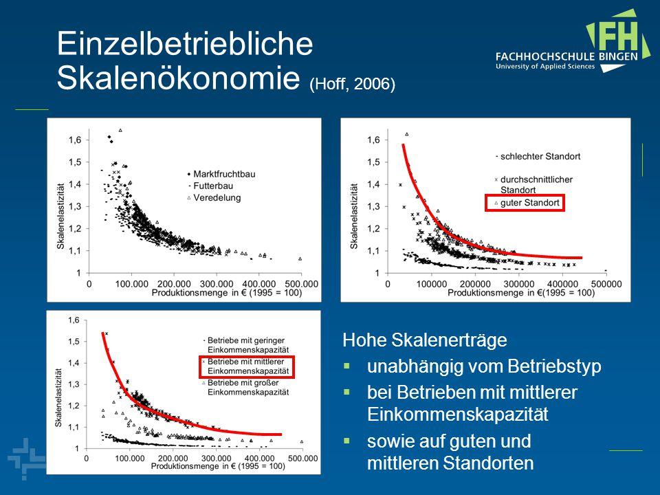 Einzelbetriebliche Skalenökonomie (Hoff, 2006) Hohe Skalenerträge  unabhängig vom Betriebstyp  bei Betrieben mit mittlerer Einkommenskapazität  sowie auf guten und mittleren Standorten