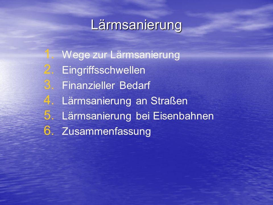 Lärmsanierung 1. 1. Wege zur Lärmsanierung 2. 2. Eingriffsschwellen 3. 3. Finanzieller Bedarf 4. 4. Lärmsanierung an Straßen 5. 5. Lärmsanierung bei E