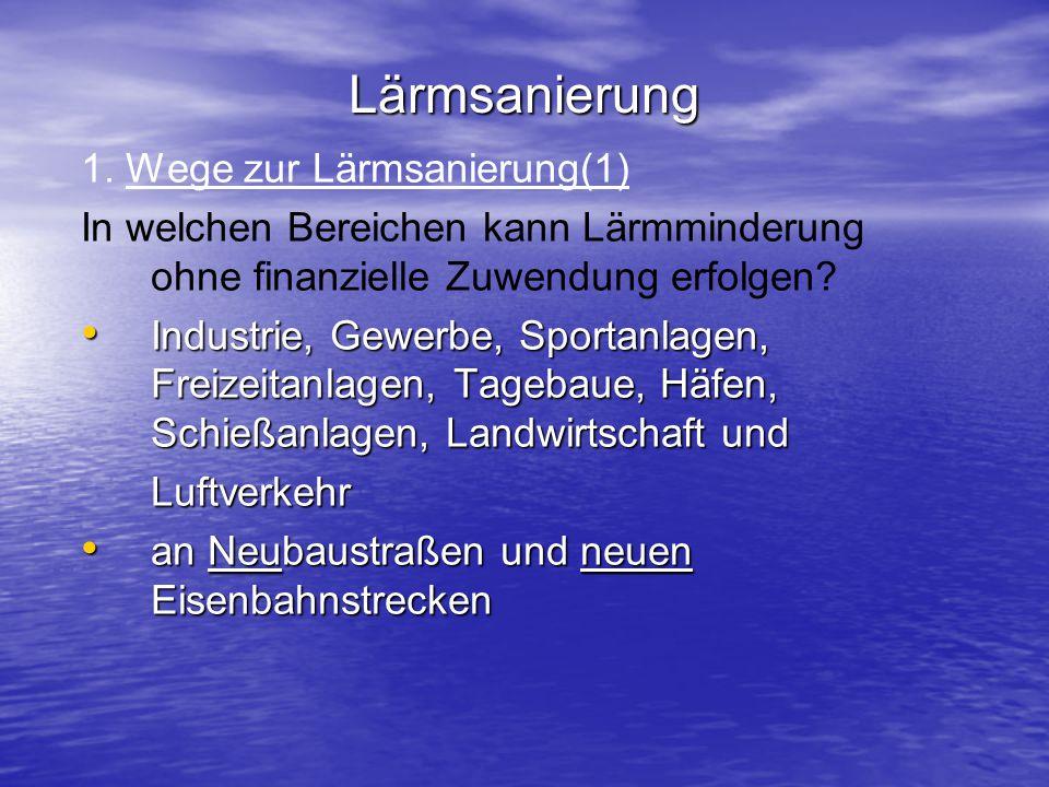 Lärmsanierung 1. Wege zur Lärmsanierung(1) In welchen Bereichen kann Lärmminderung ohne finanzielle Zuwendung erfolgen? Industrie, Gewerbe, Sportanlag