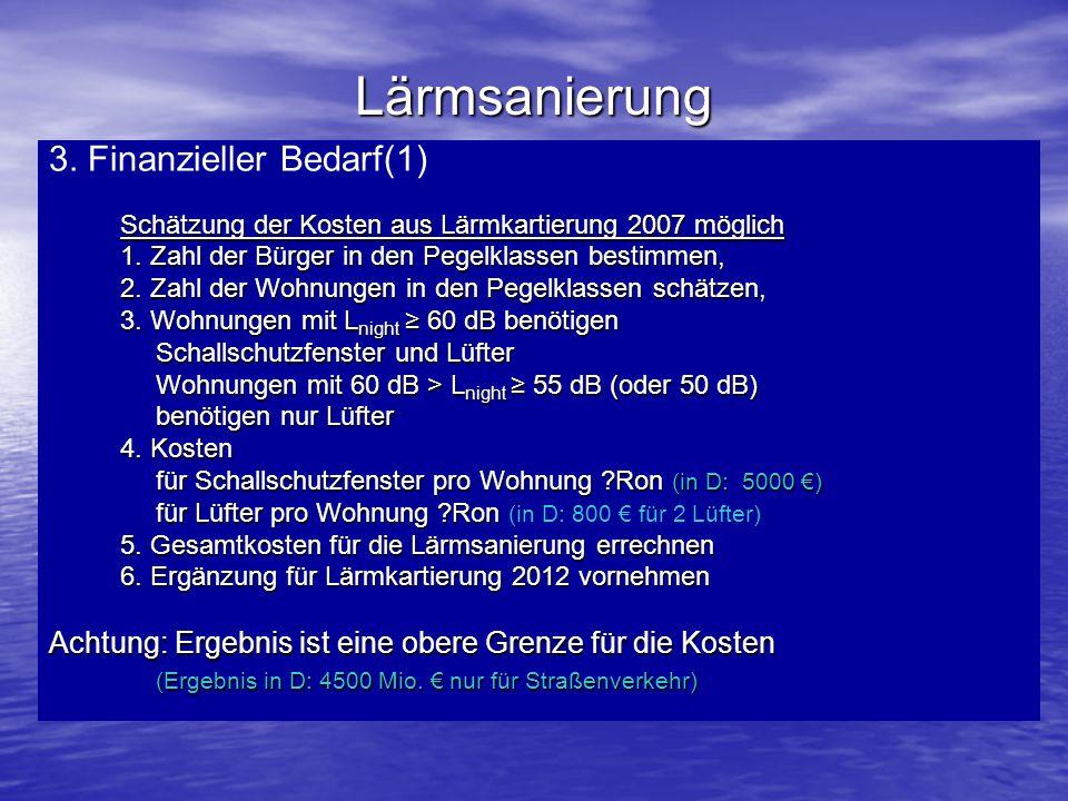 Lärmsanierung 3. Finanzieller Bedarf(1) Schätzung der Kosten aus Lärmkartierung 2007 möglich 1. Zahl der Bürger in den Pegelklassen bestimmen, 2. Zahl