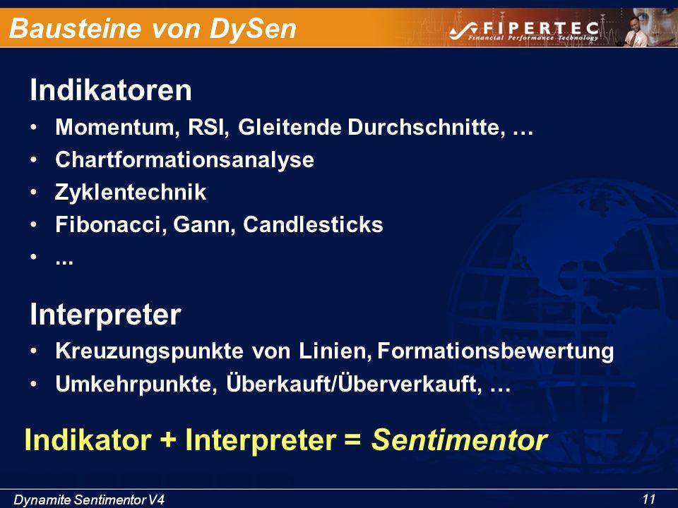 Dynamite Sentimentor V4 11 Bausteine von DySen Indikatoren Momentum, RSI, Gleitende Durchschnitte, … Chartformationsanalyse Zyklentechnik Fibonacci, G