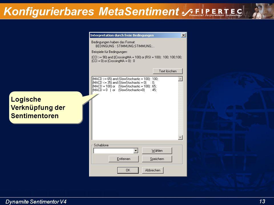 Dynamite Sentimentor V4 13 Konfigurierbares MetaSentiment Logische Verknüpfung der Sentimentoren
