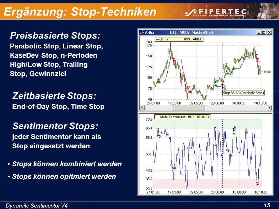 Dynamite Sentimentor V4 15 Ergänzung: Stop-Techniken Preisbasierte Stops: Parabolic Stop, Linear Stop, KaseDev Stop, n-Perioden High/Low Stop, Trailin