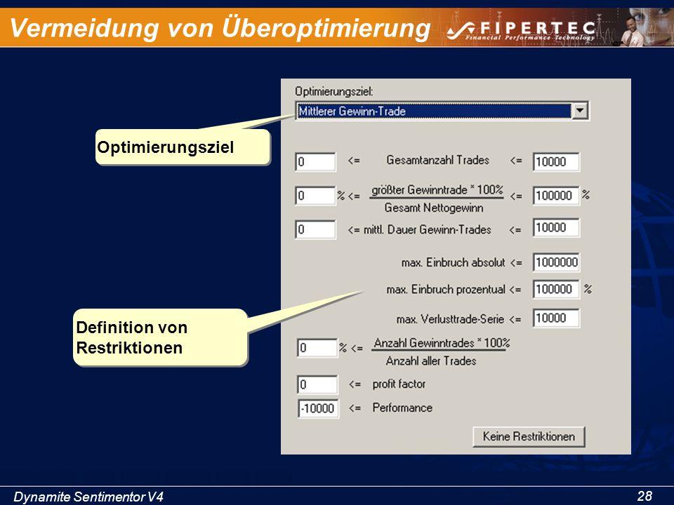 Dynamite Sentimentor V4 28 Vermeidung von Überoptimierung Definition von Restriktionen Optimierungsziel