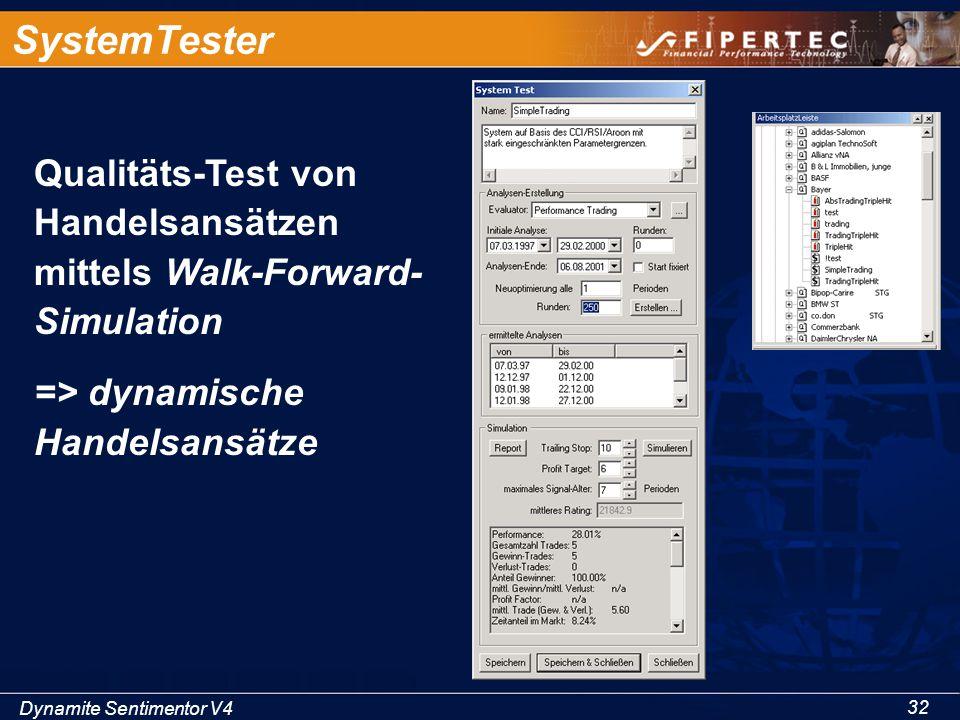Dynamite Sentimentor V4 32 SystemTester Qualitäts-Test von Handelsansätzen mittels Walk-Forward- Simulation => dynamische Handelsansätze