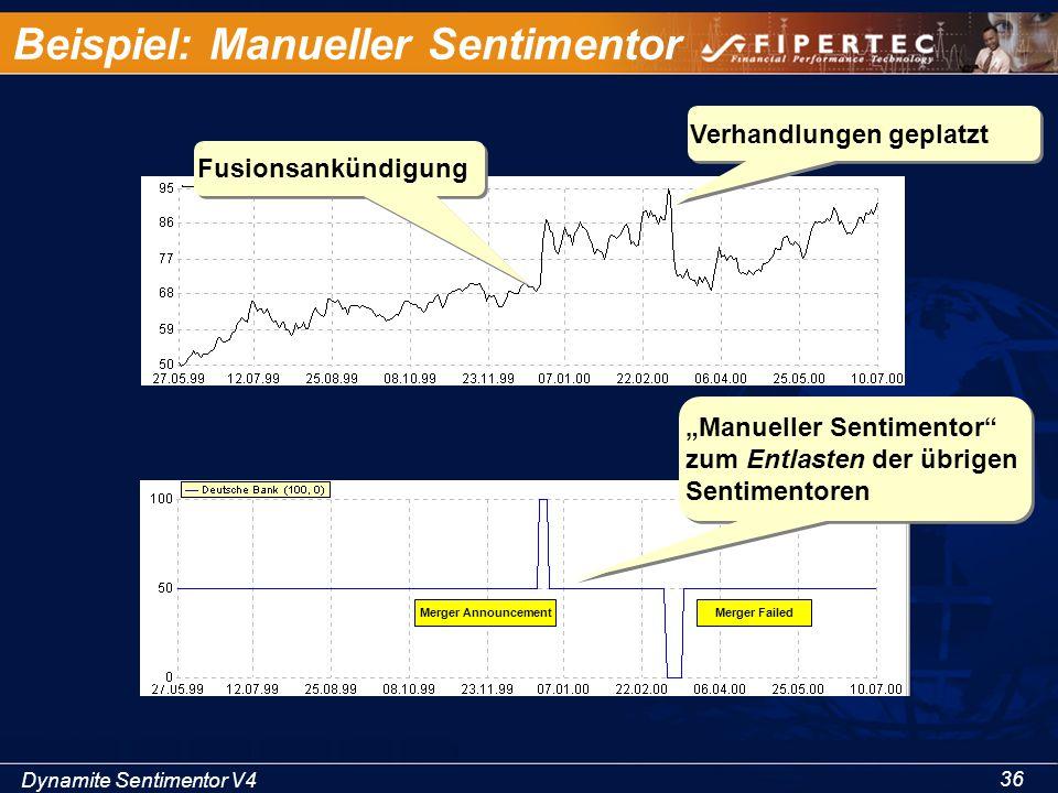 """Dynamite Sentimentor V4 36 Beispiel: Manueller Sentimentor Fusionsankündigung Verhandlungen geplatzt """"Manueller Sentimentor"""" zum Entlasten der übrigen"""