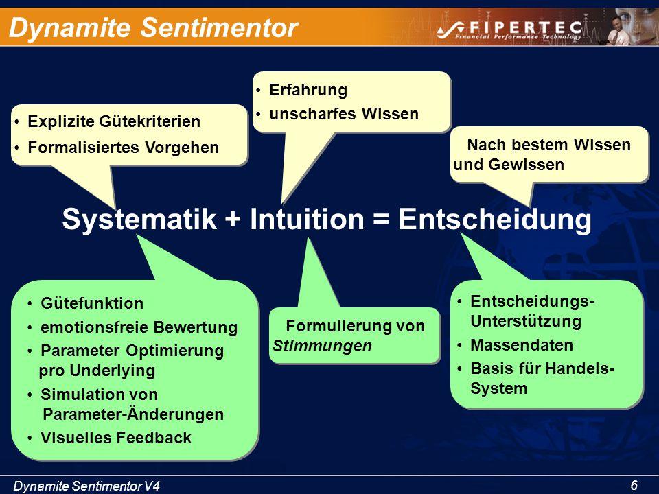 Dynamite Sentimentor V4 6 Dynamite Sentimentor Systematik + Intuition = Entscheidung Erfahrung unscharfes Wissen Erfahrung unscharfes Wissen Explizite