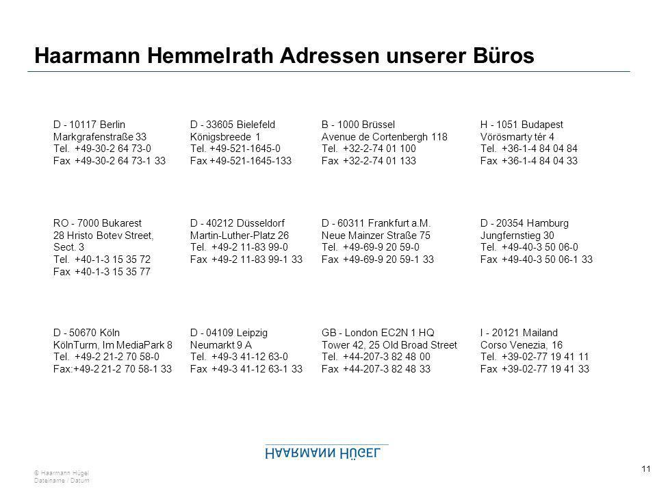 10 © Haarmann Hügel Dateiname / Datum Haarmann Hügel Rechtsanwälte Adressen unserer Büros