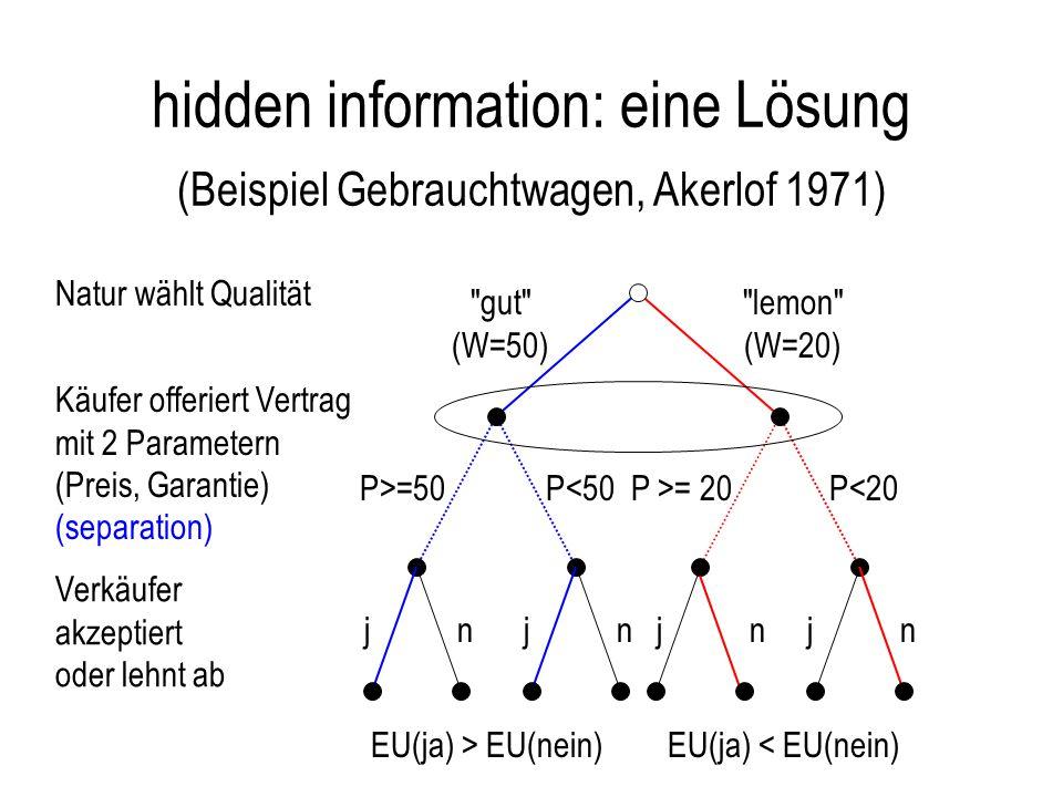hidden information: eine Lösung (Beispiel Gebrauchtwagen, Akerlof 1971)