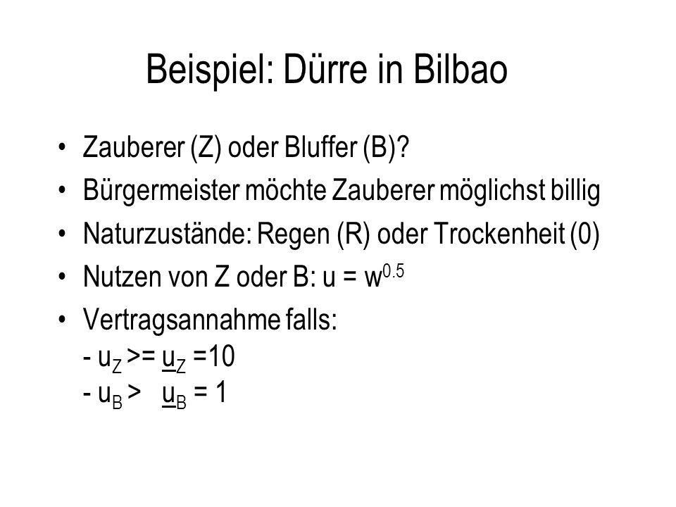 Beispiel: Dürre in Bilbao Zauberer (Z) oder Bluffer (B)? Bürgermeister möchte Zauberer möglichst billig Naturzustände: Regen (R) oder Trockenheit (0)